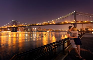 Loving couple kissing in New York City