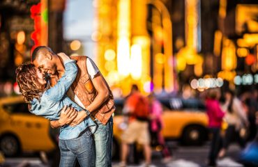 couple walking around in New York City